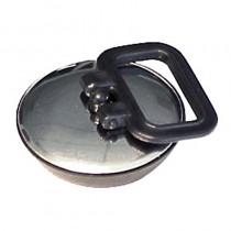 Tappo gomma 52 mm. con piastra INOX con maniglietta. Confezione BUSTA MARCATA IDROBLOK