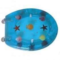 Sedile WC in RESINA TRASPARENTE UNIVERSALE - blu stelle - *PROMO STOCK*