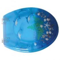 Sedile WC in RESINA TRASPARENTE UNIVERSALE - blu delfino - *PROMO STOCK*