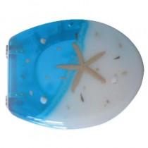 Sedile WC in RESINA TRASPARENTE UNIVERSALE - blu/bianco stella - *PROMO STOCK*