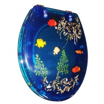 Sedile WC in RESINA TRASPARENTE UNIVERSALE - Pesci blu - *PROMO STOCK*