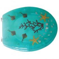 Sedile WC in RESINA TRASPARENTE UNIVERSALE - verde corallo - *PROMO STOCK*