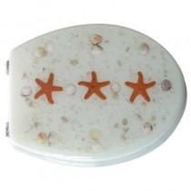 Sedile WC in RESINA TRASPARENTE UNIVERSALE - bianco con stelle rosse - *PROMO STOCK*