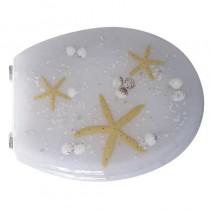 Sedile WC in RESINA TRASPARENTE UNIVERSALE - bianco con stelle gialle - *PROMO STOCK*