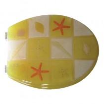 Sedile WC in RESINA TRASPARENTE UNIVERSALE - quadri giallo e bianco - *PROMO STOCK*