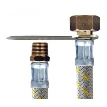 Flessibile NYLON GRIGIO CENTRALINA GAS cm.40 3/8 M.-1/2F. SINISTRO